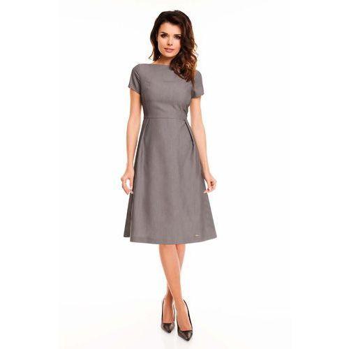 Szara Sukienka Rozkloszowana Midi z Krótkim Rękawem, kolor szary