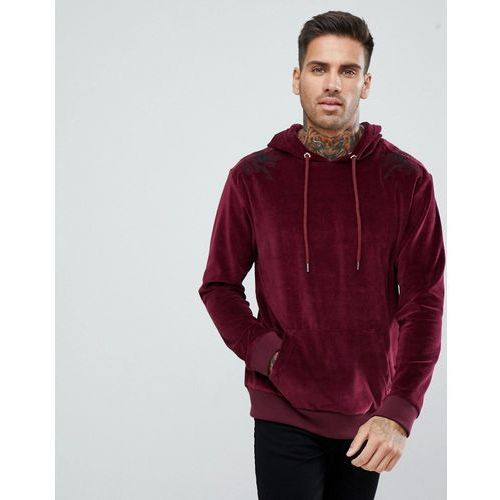 boohooMAN Velour Hoodie With Floral Embroidery In Burgundy - Red, kolor czerwony