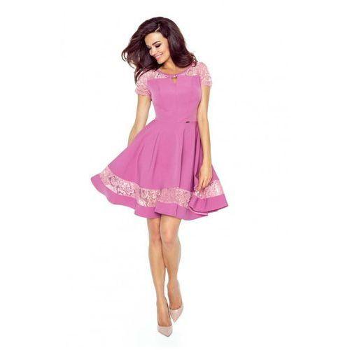 Różowa Sukienka Elegancka Rozkloszowana z Koronką, rozkloszowana