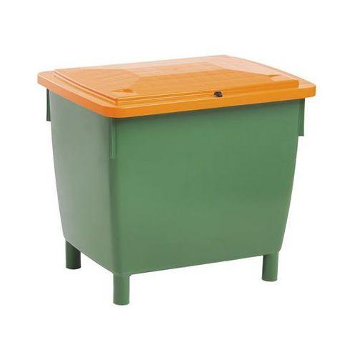 Craemer Pojemnik prostokątny, z pokrywą na zawiasach, poj. 400 l, pojemnik zielony, pokr