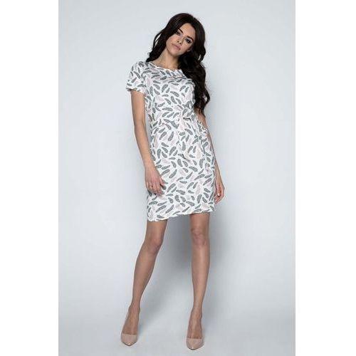 Beżowa Sukienka Mini w Piórka z Paskiem, YF488cr