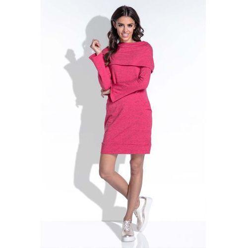 Amarantowa Komfortowa i Kobieca Sukienka Mini, w 3 rozmiarach