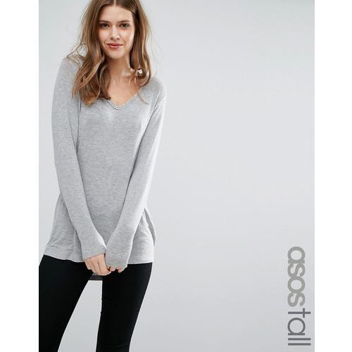 the new forever t-shirt with long sleeves and dip back - grey marki Asos tall