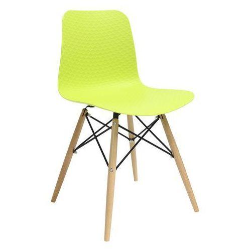 King home Krzesło krado dsw premium zielone - polipropylen, podstawa bukowa (5900000025421)