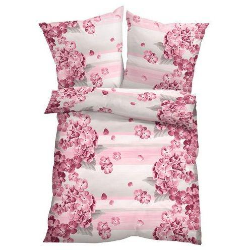 Pościel w kwiaty bonprix dymny lila, kolor różowy