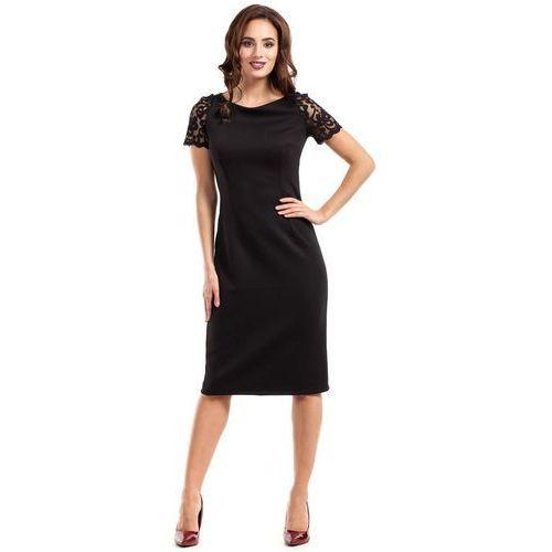 Czarna Sukienka Wieczorowa Ołówkowa Midi z Koronką, w 4 rozmiarach