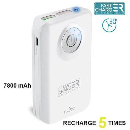 Powerbank z latarką PURO Fast Charger 7800 mAh, 2 x USB, 2.4A (FCBB78C2WHI) Biały (8033830179846)