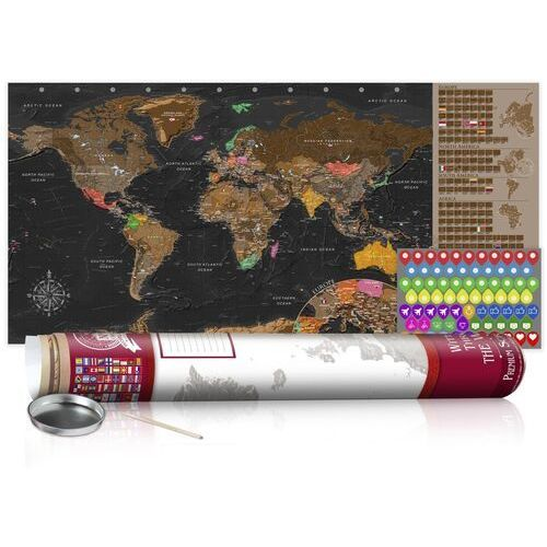 Artgeist Mapa zdrapka - brązowa mapa - plakat (wersja angielska)