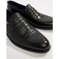 loafers in black leather croc mix and navy trim - black, Dune