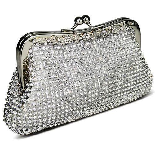 OKAZJA - Zjawiskowa srebrna torebka wizytowa z kryształków marki Wielka brytania