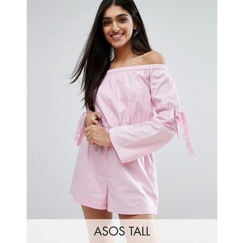 ASOS TALL Off Shoulder Playsuit with Tie Detail - Purple
