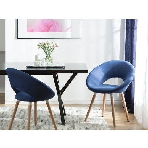 Zestaw do jadalni 2 krzesła ciemnoniebieskie ROSLYN, kolor niebieski