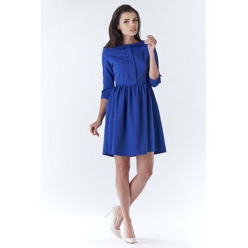 Niebieska Elegancka Sukienka z Okrągłym Kołnierzykiem, WA183be