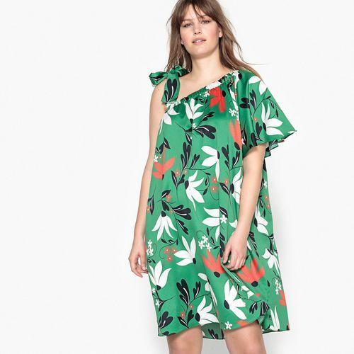 Kwiecista sukienka bez rękawów, długa i rozkloszowana