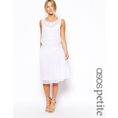 ASOS PETITE Exclusive Embellished Midi Smock Dress - White, kolor biały