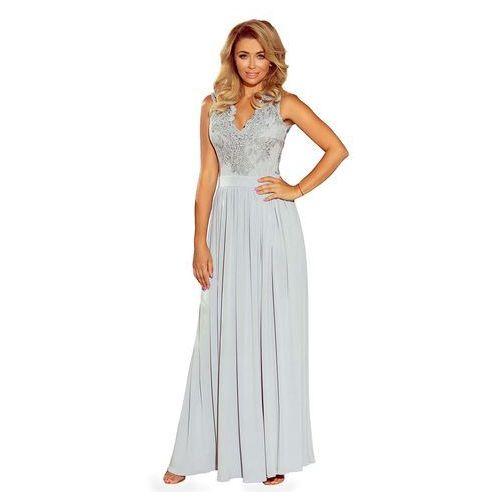 Numoco Srebrna długa wieczorowa sukienka z koronką