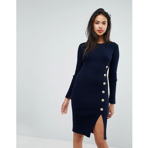 Morgan Knitted Dress With Military Button Detail - Navy, kolor niebieski