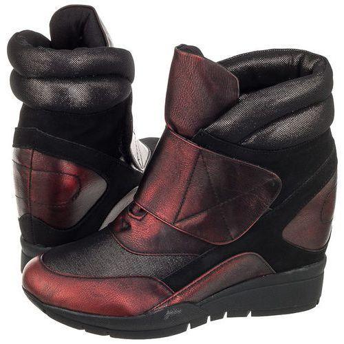 Sneakersy Sergio Leone Czarne/Bordowe 22395 (SL161-b), kolor czarny