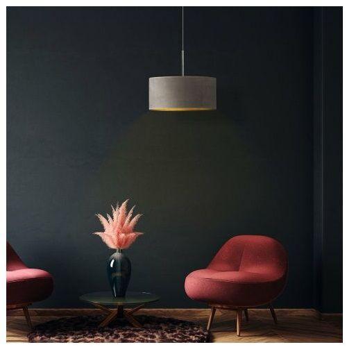 Lysne Lampa wisząca z abażurem sintra velur fi - 40 cm - kolor szary ze złotym wnętrzem