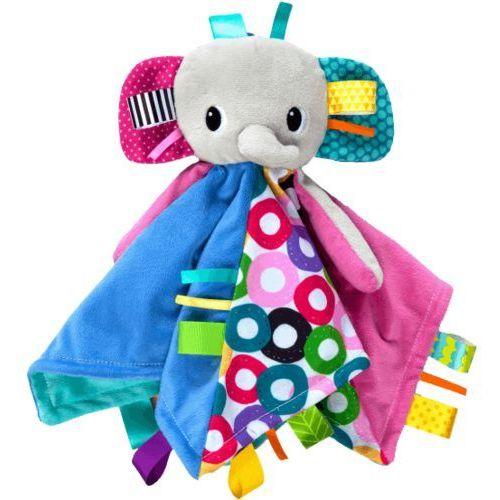 kocyk przytulanka z głową cuddle'n tag słoń 35x35cm (0m+) wyprodukowany przez Bright starts
