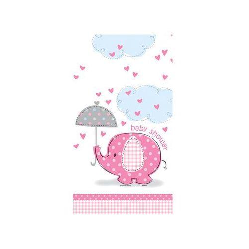 Obrus na baby shower słonik z parasolem dla dziewczynki - 137x213 cm - 1 szt. marki Unique