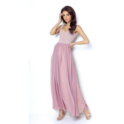 Różowa Wyjściowa Długa Sukienka z Szyfonowym Szerokim Dołem, I219pi