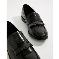 Dune loafers in black hi-shine leather - black