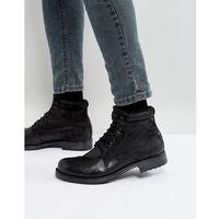 justin leather mix lace up boots - black, Jack & jones