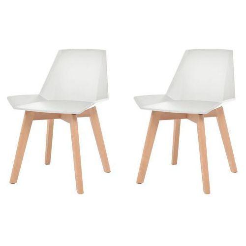 Komplet 2 krzeseł, drewniane nogi i białe, plastikowe siedziska, kolor biały
