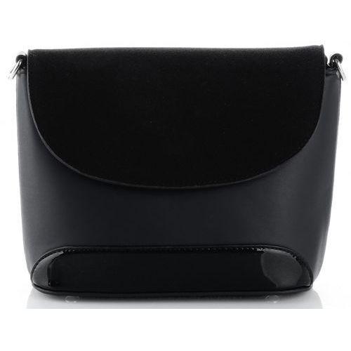 eleganckie torebki damskie listonoszki wykonane z zamszu naturalnego i skóry eko czarna (kolory) marki Silvia rosa