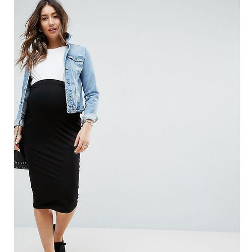 Asos maternity  tall over the bump midi pencil skirt in jersey - black