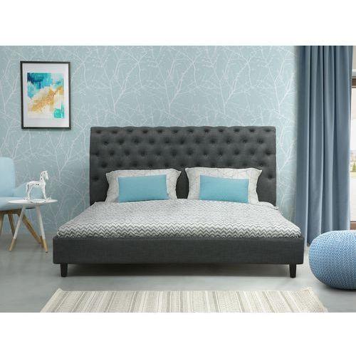 Łóżko szare - 180x200 cm - łóżko tapicerowane - stelaż - reims marki Beliani