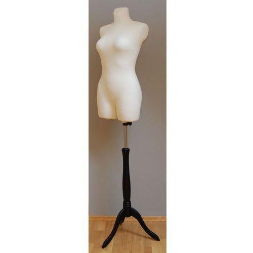 Manekin krawiecki - tors kobiecy długi ecru - rozmiar 36/38 na drewnianym, czarnym trójnogu