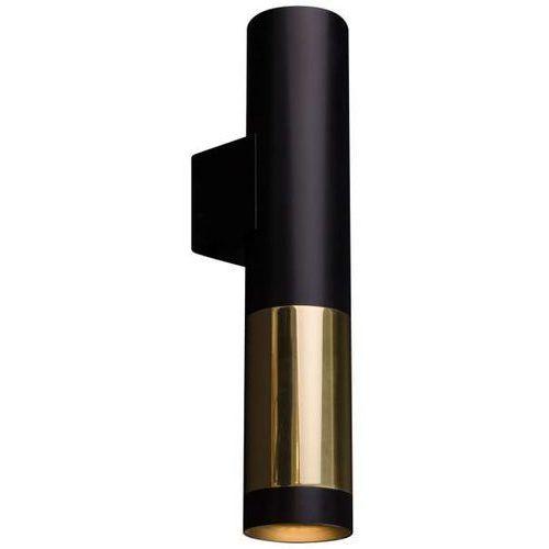 Kinkiet LAMPA ścienna KAVOS 0380 Amplex metalowa OPRAWA okrągła tuba sopel czarny złoty (1000000549065)