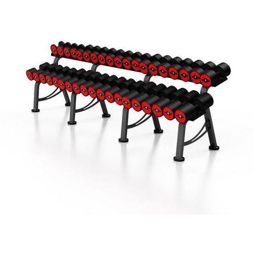 Zestaw hantli żeliwnych gumowanych 5-50 kg ze stojakiem Marbo Professional - czerwony