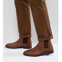 Asos wide fit chelsea boots in brown leather with black contrast sole - brown