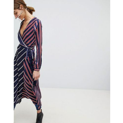 stripe satin wrap midi dress - navy marki Stradivarius