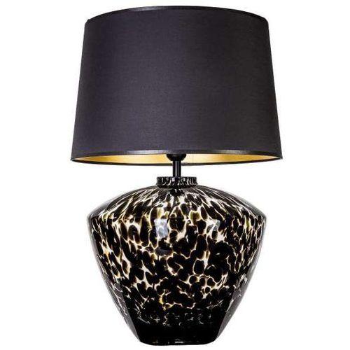 Stojąca LAMPA stołowa RAVENNA L034102227 4Concepts abażurowa LAMPKA nocna z wzorkami czarna czarnokremowa (1000000242249)