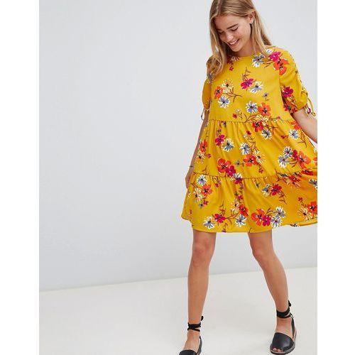 Qed london floral print shift dress - yellow
