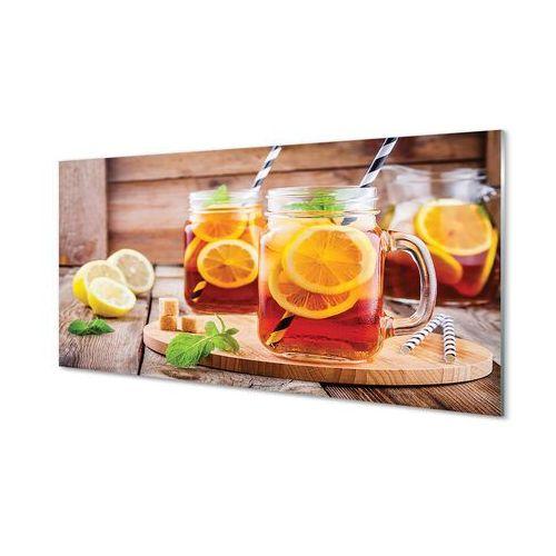 Obrazy akrylowe Herbata na zimno słomki cytrus