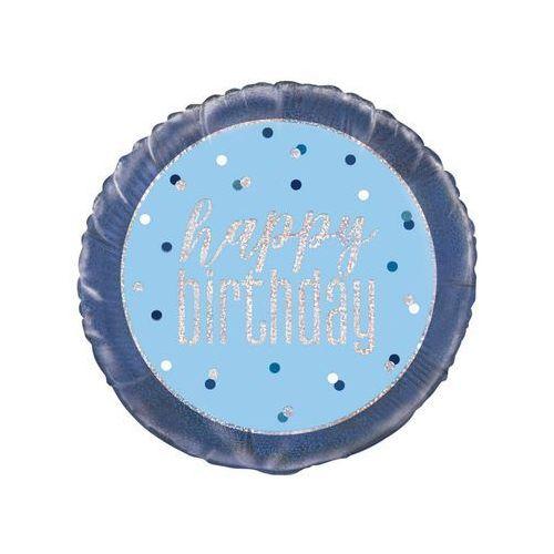 Balon foliowy niebieski Happy Birthday - 46 cm - 1 szt.