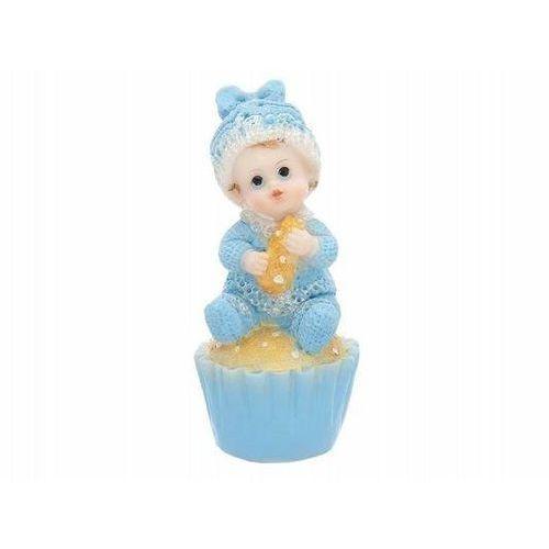 Party deco Figurka błękitna - dziecko na ciastku - 9,5 cm (5901157428233)