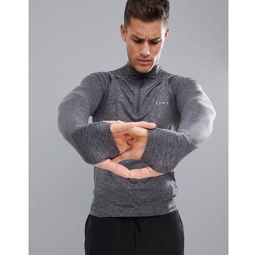 long sleeve t-shirt with zip neck and thumbhole - grey marki Asos 4505