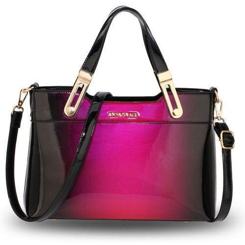 Cieniowana lakierowana torebka damska wiśniowo-czarna - czarny ||wiśniowy ||fioletowy marki Wielka brytania