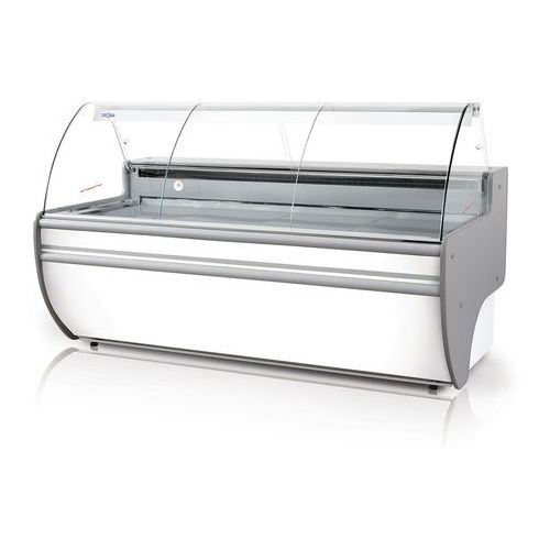 Lada chłodnicza z szybą giętą, blatem z płyty laminowanej, podświetlanym plafonem dolnym, 1520x1070x1220 mm | RAPA, L-C 152/107
