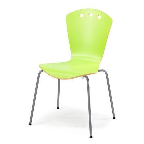 Stylowe zielone krzesło ze stelażem w kolorze aluminium marki Aj