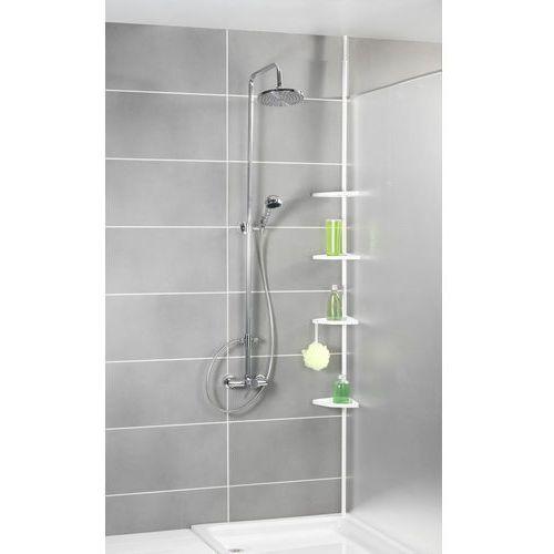 Wenko Teleskopowa, narożna półka łazienkowa pod prysznic, biała - aż 4 poziomy,
