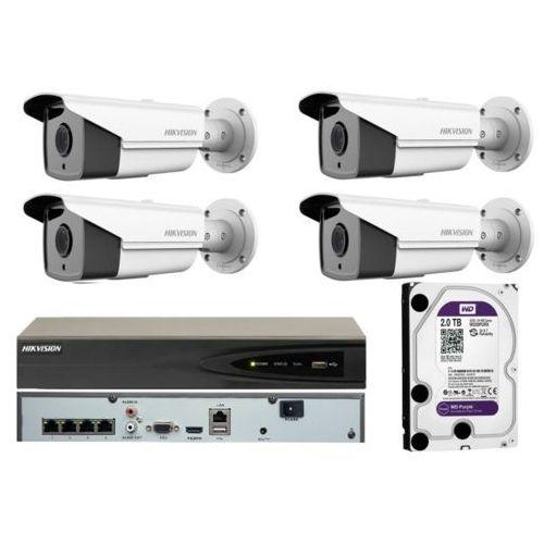 Kompletny monitoring z 4 kamerami 4mpx ir30 oraz rejestratorem poe i dyskiem 2tb marki Hikvision