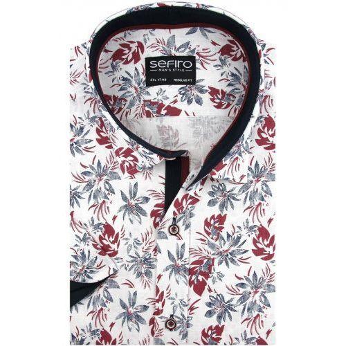 Sefiro Lniana duża koszula męska biała w bordowe kwiaty na krótki rękaw duże rozmiary k900