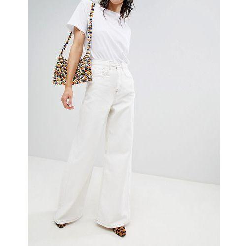 Stradivarius wide leg jean with contrast stitch - White, kolor biały